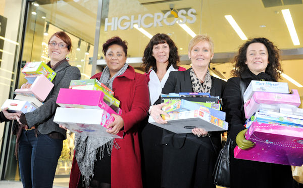 Pictured together outside Highcross are (left to right) Jennifer Leach. Rainbows, Julia hicks nspcc , Highcross general manager Jo Tallack, Tracey carton NSPCC and Nikki Thompson Barnado's