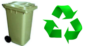 green bin and recycle logo